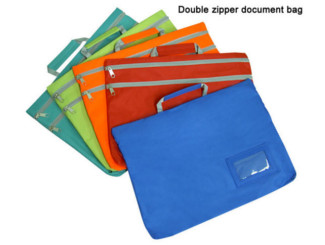 Double zipper document bag