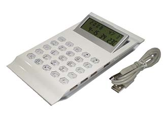 4 USB Port Desktop Calculator with Clock & Calendar CDN-USB-3030